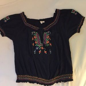 Black Peasant Blouse